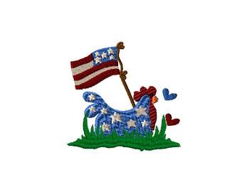 Americana Chicken Machine Embroidery Design