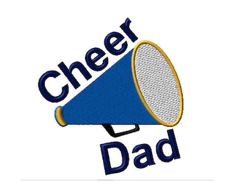 Cheer Dad Megaphone Machine Embroidery Design - 2 sizes