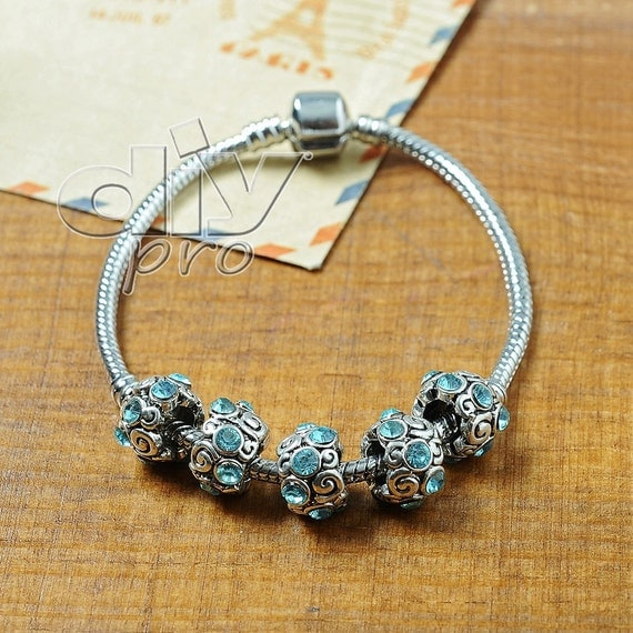 Tibetan Charm Beads With Czech Sparkling Colorful Crystals Fashion Design For Jewelry Making