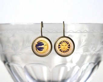 Sun and Moon Earrings - Celestial Jewery - Cute Gift  Accessories for Women - 14mm Bronze Leverback Earrings