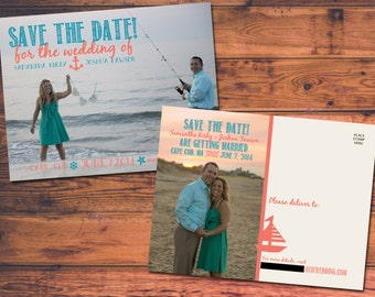 Customizable Nautical/Beachy Save-the-Date Wedding Postcards