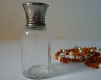 Bottle glass old facet and Cap metal, French elegance, miniature perfume