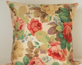 Floral Rose cushion cover in vintage fabric - Myrtle