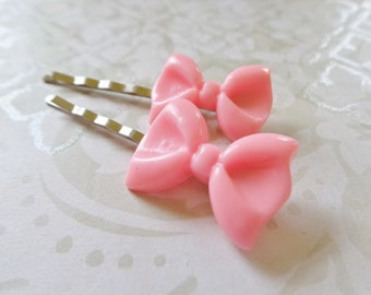 Pixie Pink Bow Hair Clips