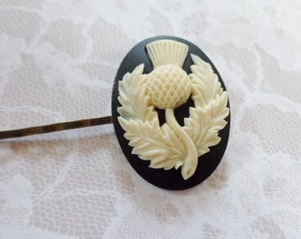 An Ivory And Black Irish Thistle Hair Clip