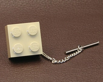 Beige Brick Brick Tie Tack Made from LEGO® Brand 2x2 Block Lapel Pin Brooch