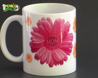 Mother's Day Gerbera Daisies Coffee Mug- Pink & Yellow Gerbera Daisies Mothers Day Gift- 11 oz  Mug Mothers Day Gift with Gerbera Daisy