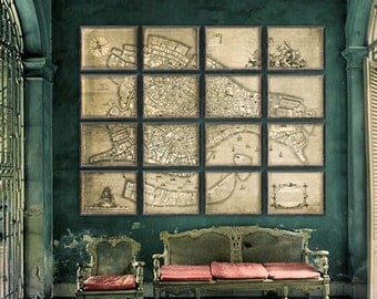 "Large map of Venice 1729, Huge Old Venice map in 5 sizes up to 96x72"" (240x180cm) Venezia in 1, 4, or 16 parts - Limited Edition of 100"