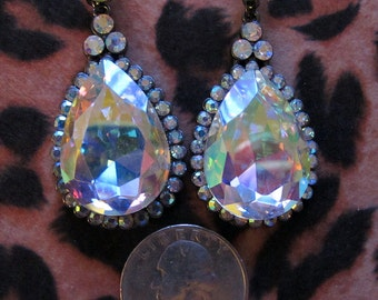 Chunky aurora borealis drop earrings
