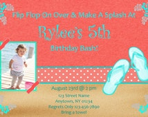Coral and turquoise beach party invitation