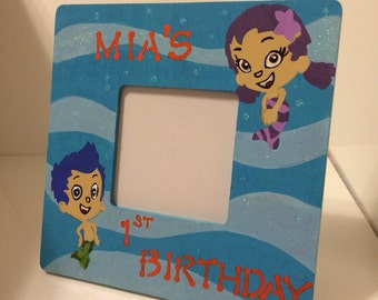 Bubble guppies frame-custom picture frame-picture frame for kids-personalized picture frame-kids picture frame