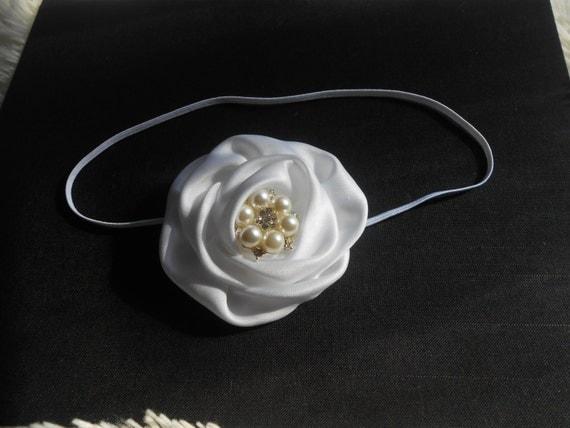 White Satin flower with Skinny Headband, Newborn Headband, Baptism Headband,Baby Headband, Headband Baby, White Baby Headband