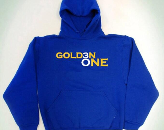 Steph Curry Golden One Blue Yellow Hooded Sweatshirt Warriors NBA