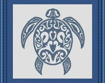 TRIBAL TURTLE / tortue -Counted cross stitch pattern /grille point de croix  ,Cross Stitch PDF, Instant download , free shipping
