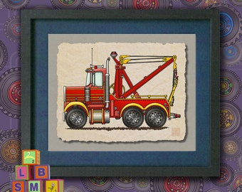 Kid Truck Art Cute wrecker Whimsical tow truck Vehicle print adds to kids room transportation art as 8x10 or 13x19 truck wall art