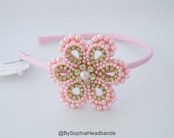 Pink Flower Arch Headband, Pink Hard Headband, Girl Hard Headband, Big Girl Headband, Flower Girl Headband, Flower Arch Headband