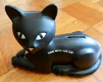 Retro 80's Eveready Black Cat Plastic Bank