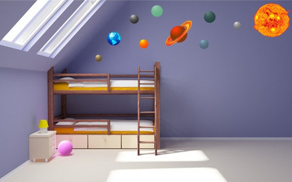 couleur syst me solaire wall decal plan tes kids wall sticker. Black Bedroom Furniture Sets. Home Design Ideas