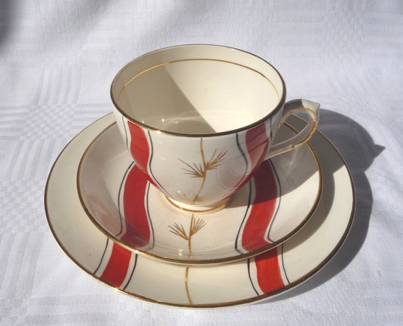 Funky Fifties Red Stripe Vintage Retro Pottery Tea Cup Saucer