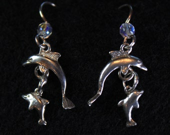 Dolphin and Baby Dangle Earring
