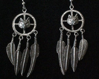 Native American Medicine Wheel with Wolf - Sterling Silver Dangle Earrings