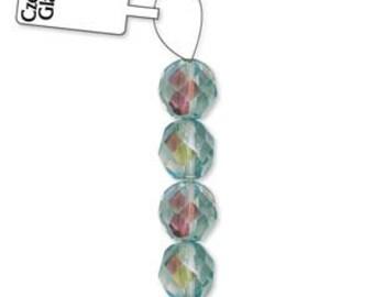 Czech Glass 8mm Facet Round Strand - 19 Beads - Irridescent Honey Dew