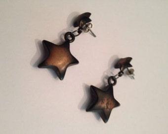 Vintage Puff Copper Star Dangle Earrings Jewelry