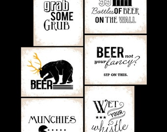 Beer Tasting Party Poster Signs Set of 6 Printables - INSTANT DOWNLOAD