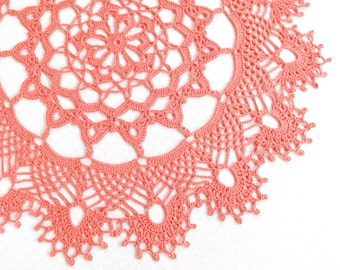 Extra large Crochet Coral Pink Doily, New Hand Crochet Doily, Crochet Placemat, Round Doily, Crochet Lace Doily, Crochet Tablecloth