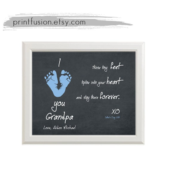 Baby Gifts For New Grandparents : Footprint art baby gift father dad grandfather by printfusion