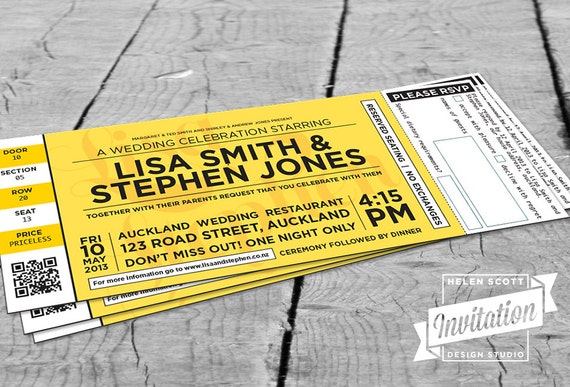 concert ticket wedding invitation by invitationdesignnz on