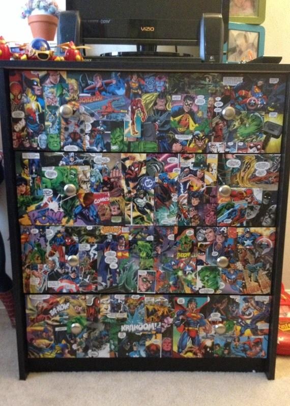 Items Similar To Superhero Comic Book Dresser Super Hero Room Decor Children Room Nursery Decor