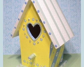 "Yellow Birdhouse - Small Hand-painted Birdhouse - ""Lemon Drop"""