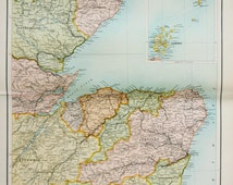 Original Antique Map : North East Scotland, Orkney & Shetland inc. Railway Lines. Bartholomew c. 1898, Lovely Pastel Colours