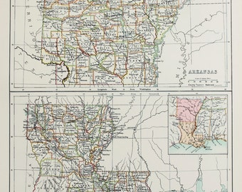 Large 1897 Blacks Antique Colour Map, United States (USA) State and County Map, Arkansas & Louisiana