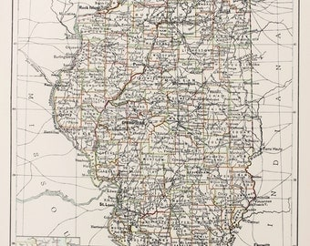 Large 1897 Blacks Antique Map, Colour Map, United States (USA) State and County Map, Illinois