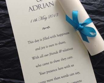 50 Personalised WHITE Wedding Scroll Favours Favors with Ribbon