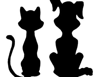 Dog and Cat vinyl decal/sticker