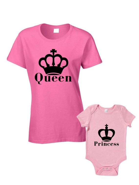 Queen & Princess T-Shirts or Baby Grow Matching Mother