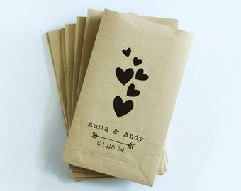 50 kraft paper bag - standing paper bag with flat bottom - personalized - wedding and party favor