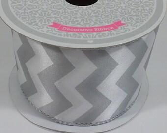 "2 1/2"" Large Chevron Print Ribbon - Silver - 10 Yards"
