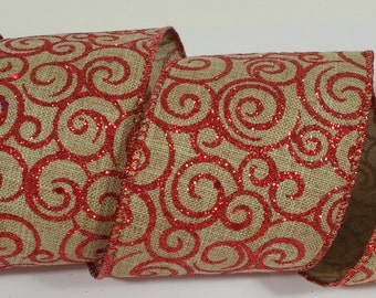 "2 1/2"" Canvas Glitter Swirl Ribbon - Red - 10 Yards"