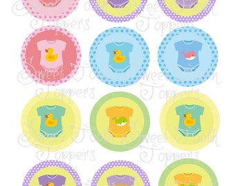 Baby clothes set of 12 cupcake toppers 2 inch
