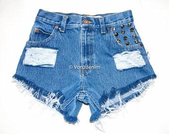 High Waisted Denim Shorts, Plain Denim Cut Off Shorts, Hipster Grunge Shorts, Studded Summer , Plus Size Shorts