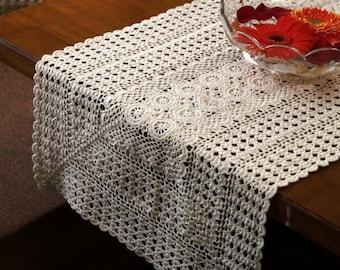 Vintage Design RUNNER- Handmade Crochet Runner- Cotton - Crochet Table Runner  - Natural and White Color