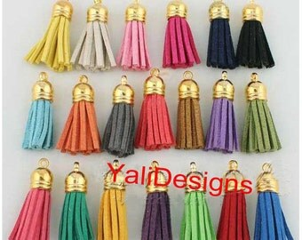 20pcs of Multi-Colors Leather Tassel with Gold Caps Cell Phone Straps/Bracelets/Necklace/DIY Charms YTT03