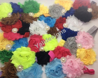 U Pick Wholesales 3 Shabby Flowers Headband Baby Headbands. Pearl Newborns Headbands. Girl's Headband YTH31