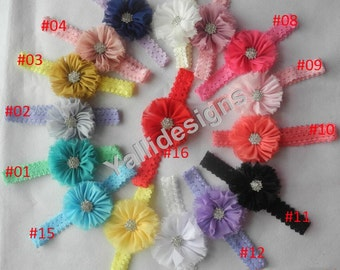 U Pick Wholesales Shabby Flower Headband Baby Headbands. Rhinestone Headband Vintage Newborns Headbands. Girl's Headband YTC04