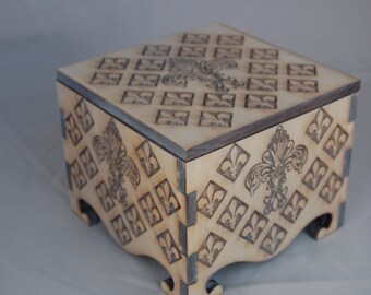 Small Keepsake Box decorated with Fleur de Lis