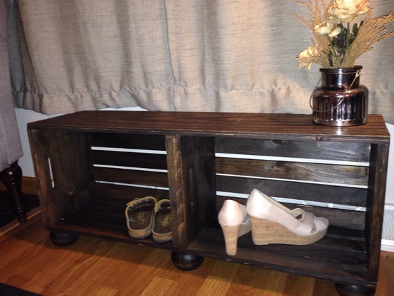 Farmhouse bench rustic wood wine crate entry way bench with for Wood crate bench